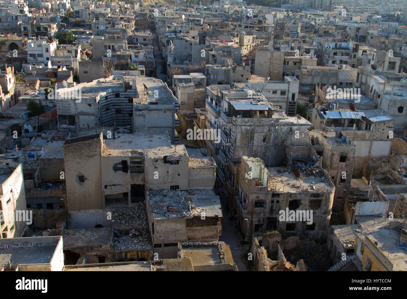 Destroyed Homs centre - Stock Image