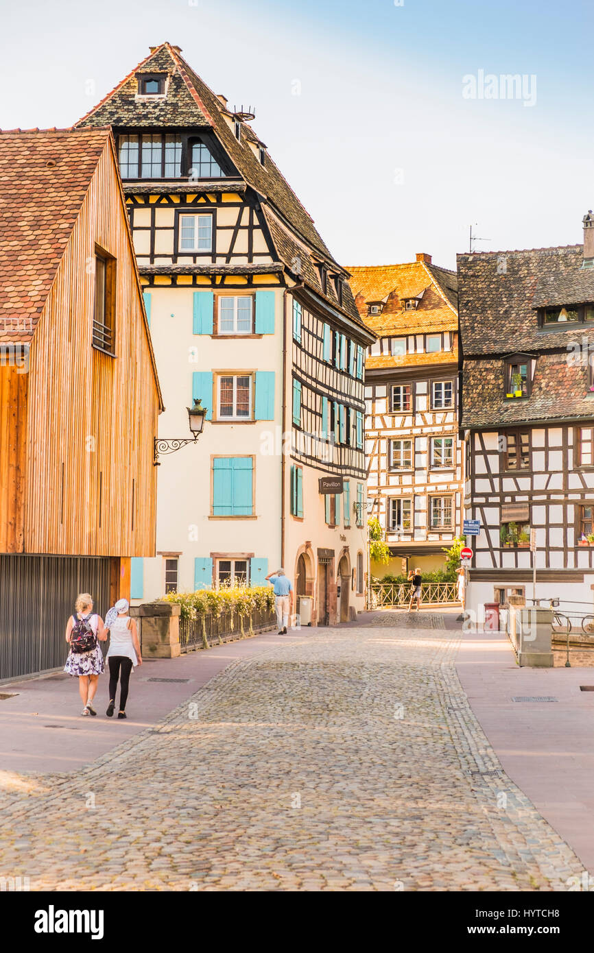 historic half-timbered housess, rue des moulins, hotel pavillon regent petite france Stock Photo