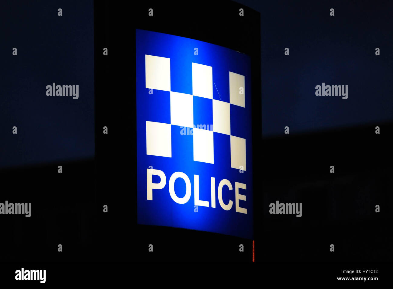 An illuminated police sign outside a Police Scotland headquarters building - Stock Image