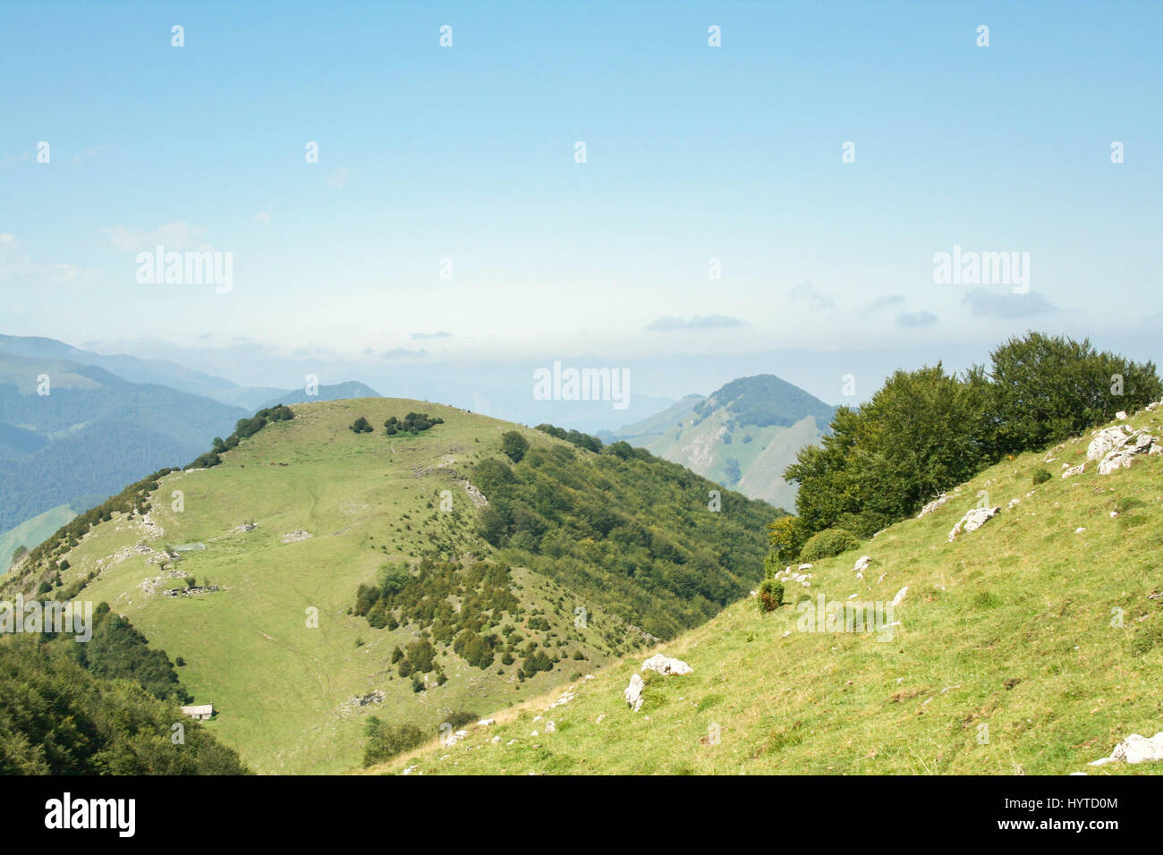 Aspin Pass (Col d Aspin) in summer. This pass is one of the iconic landmarks of the Pyrenees mountains in France Stock Photo