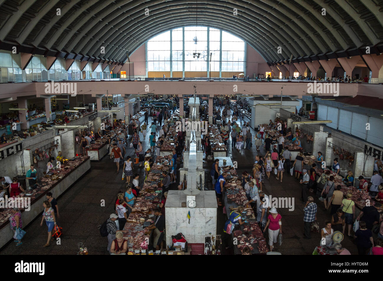 DNIPROPETROVSK, UKRAINE - AUGUST 15, 2015: Main hall of Dnipropetrovsk central market, the biggest green covered - Stock Image