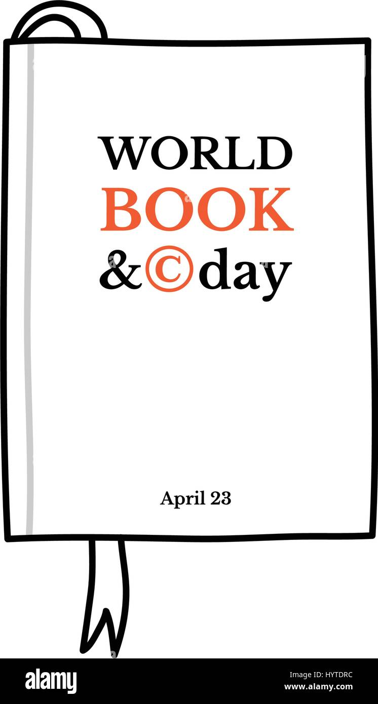 World Book and Copyright Day, April 23. Sketchy hand drawn book with a bookmark - Stock Vector