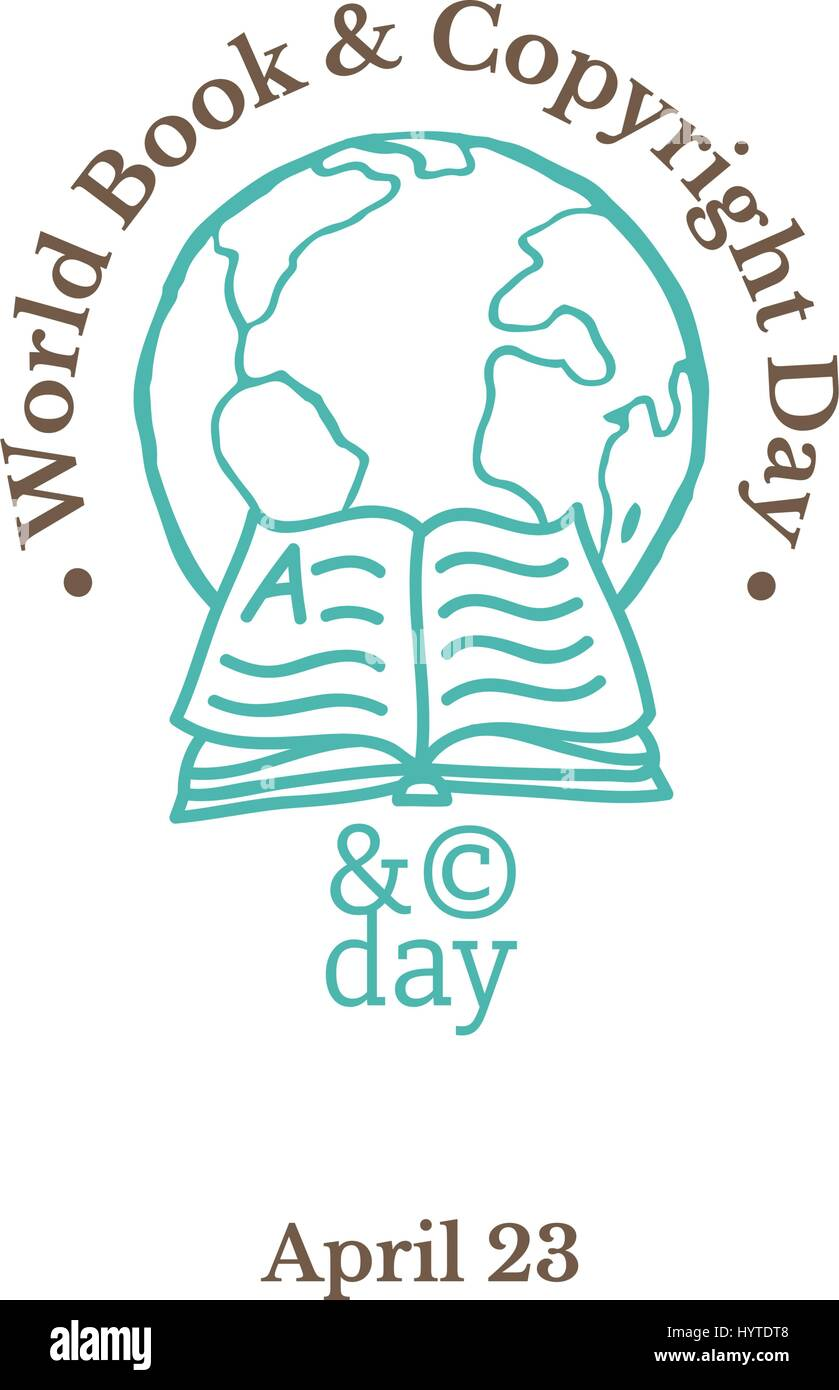 World Book and Copyright Day, April 23. Vector illustration with globe, open book and copyright symbol. Hand drawn - Stock Vector