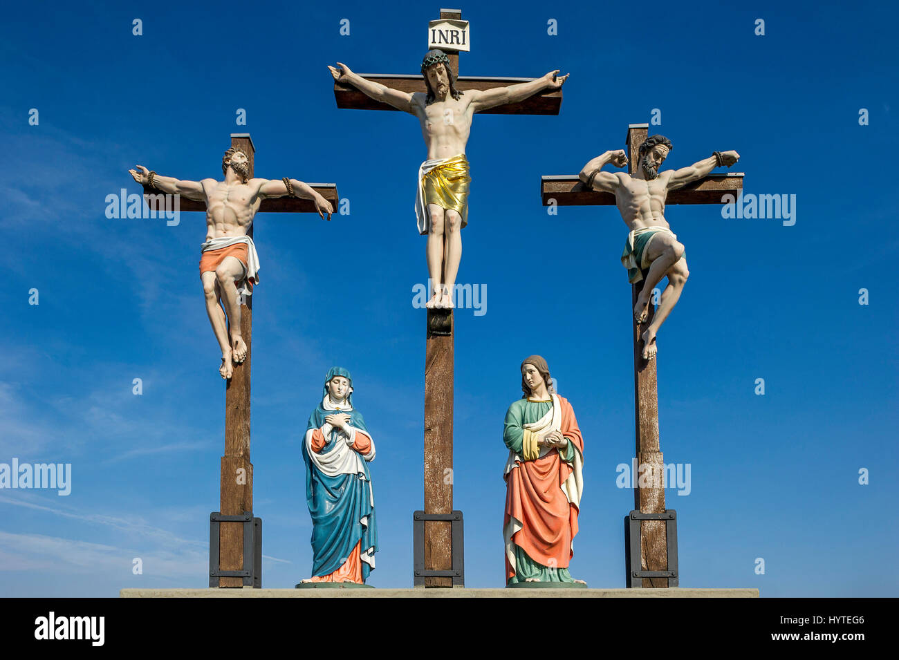 Crucifixion of Jesus, Jesus and two thieves, St. Anne and Mary, Calvary, Klosterlechfeld, Swabia, Bavaria, Germany - Stock Image