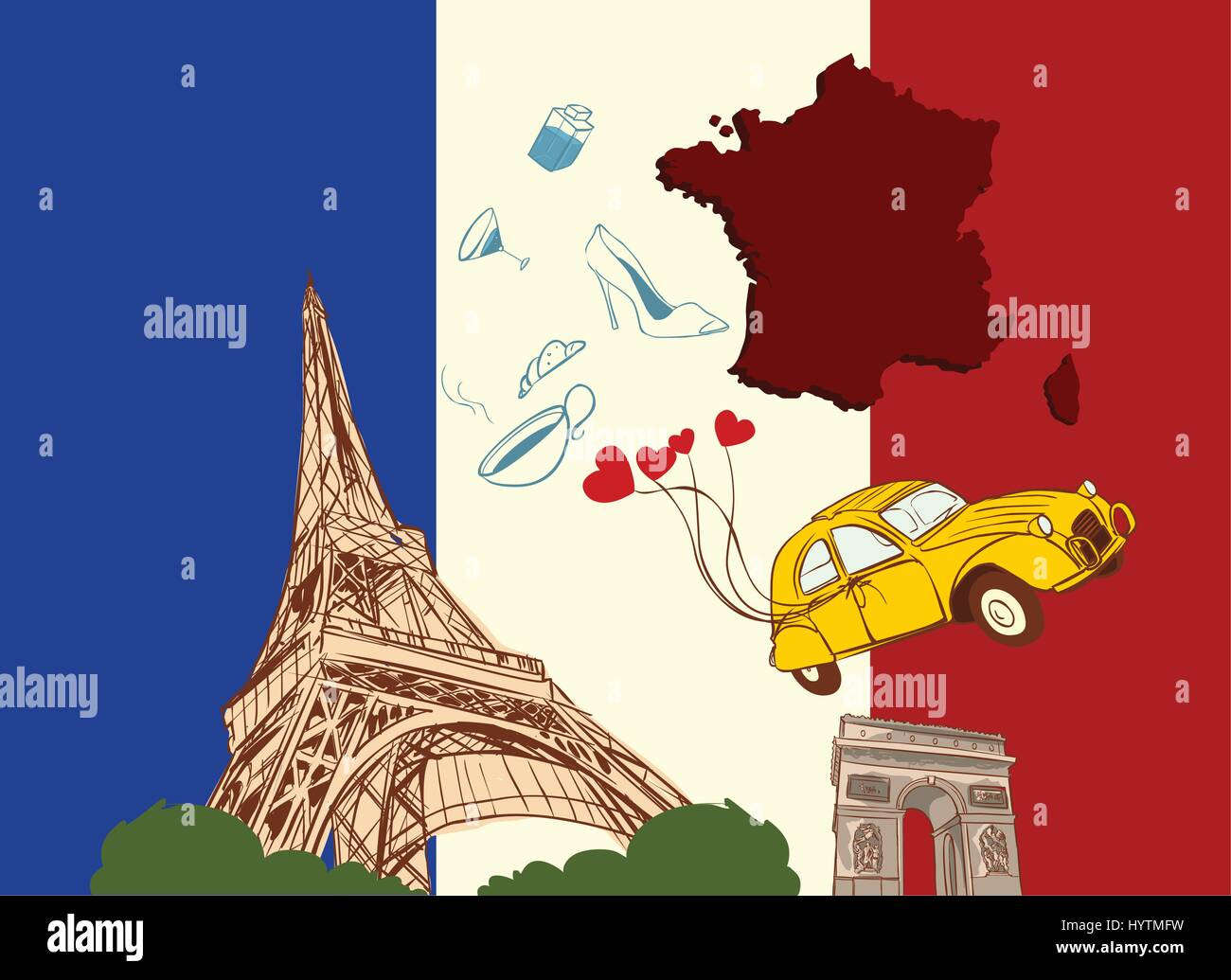 vector illustration of a france - Stock Image