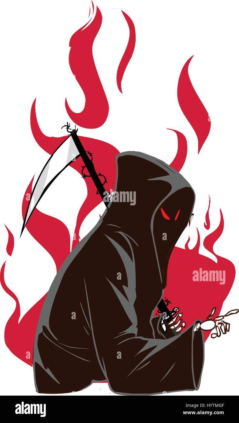 vector illustration of a grim reaper - Stock Vector