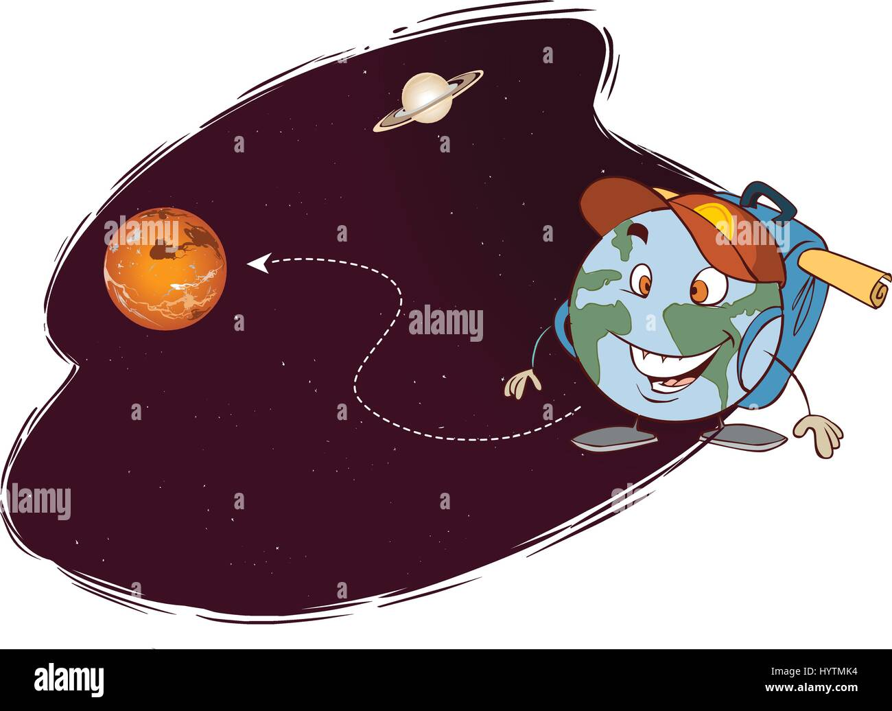 vector illustration of a different planets trip - Stock Vector