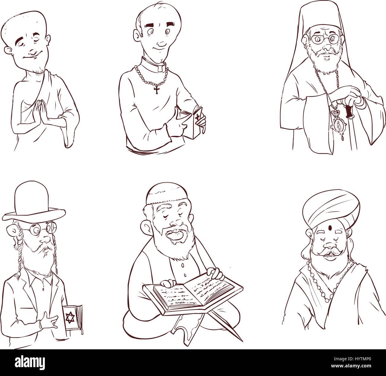 People of different religion in traditional clothing. Islam, judaism, buddhism, orthodox, catholic, hinduism illustration - Stock Image