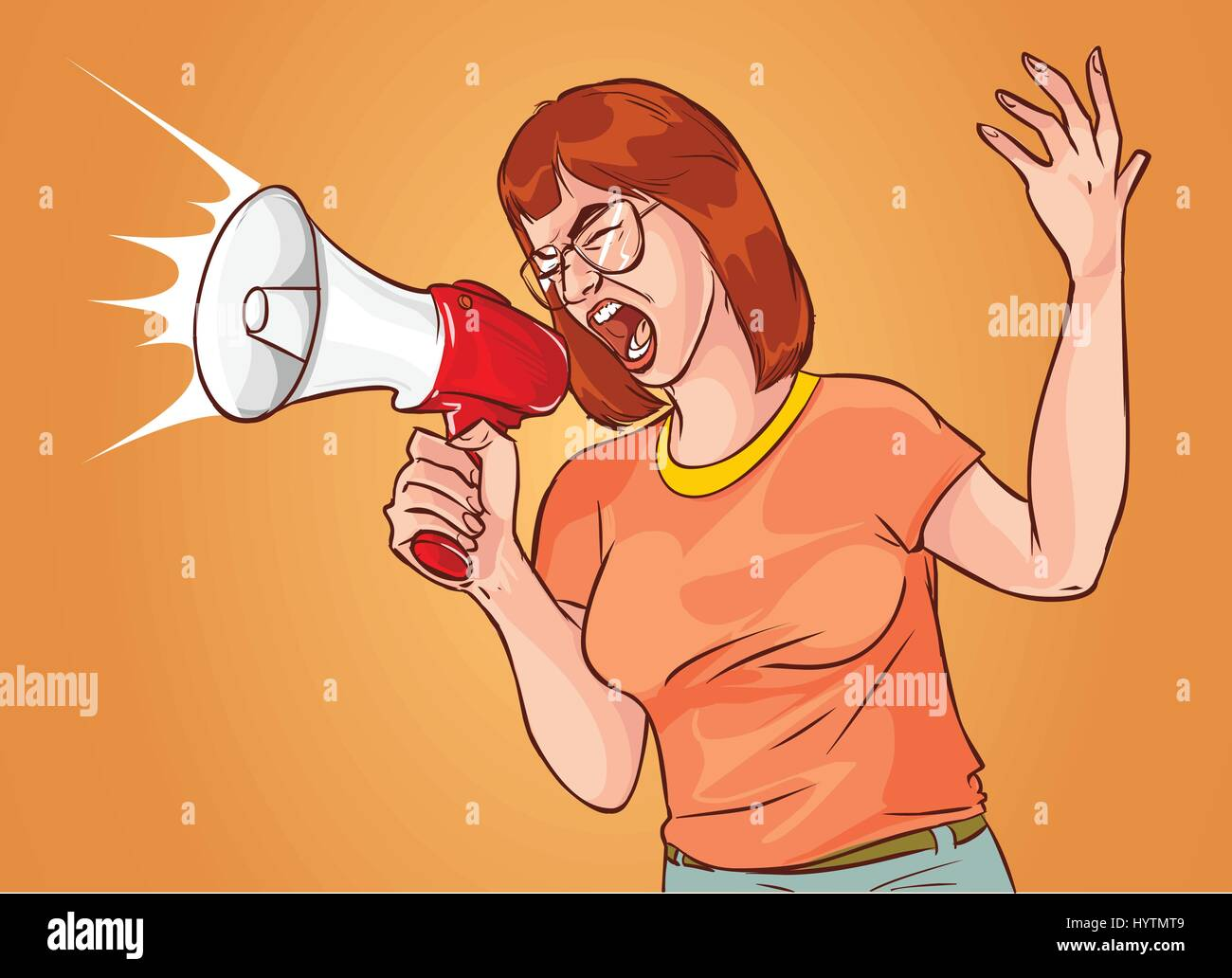 vector illustration of a megaphone shouting woman - Stock Vector