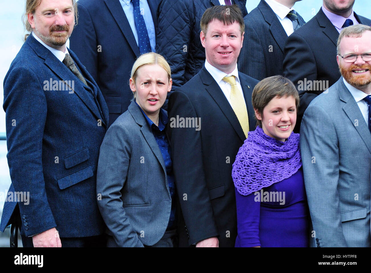 Mhairi Black (2nd L), the 20-year-old student who becomes the youngest member of Parliament since 1667, pictured - Stock Image