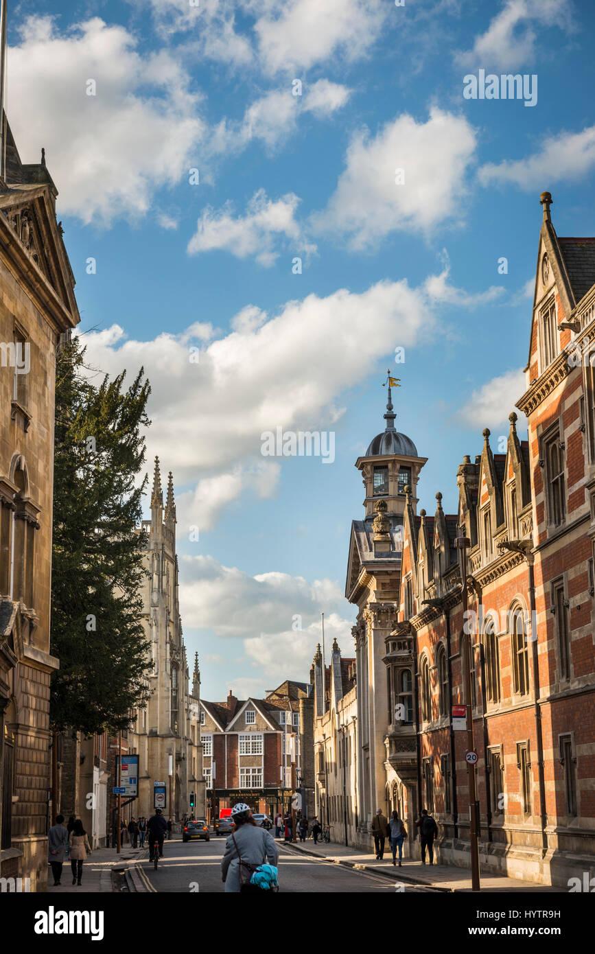 University buildings on Trumpington Street in Cambridge, England, UK - Stock Image