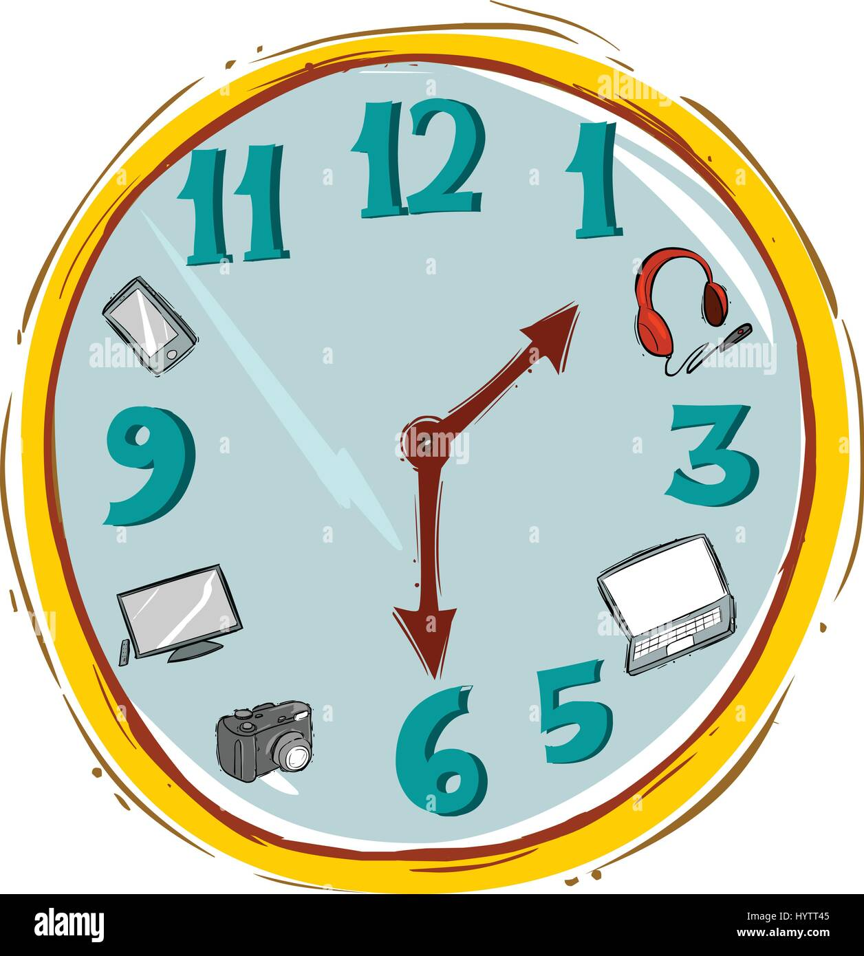 Vector illustration of a Hand made clock Vector Illustration. - Stock Vector