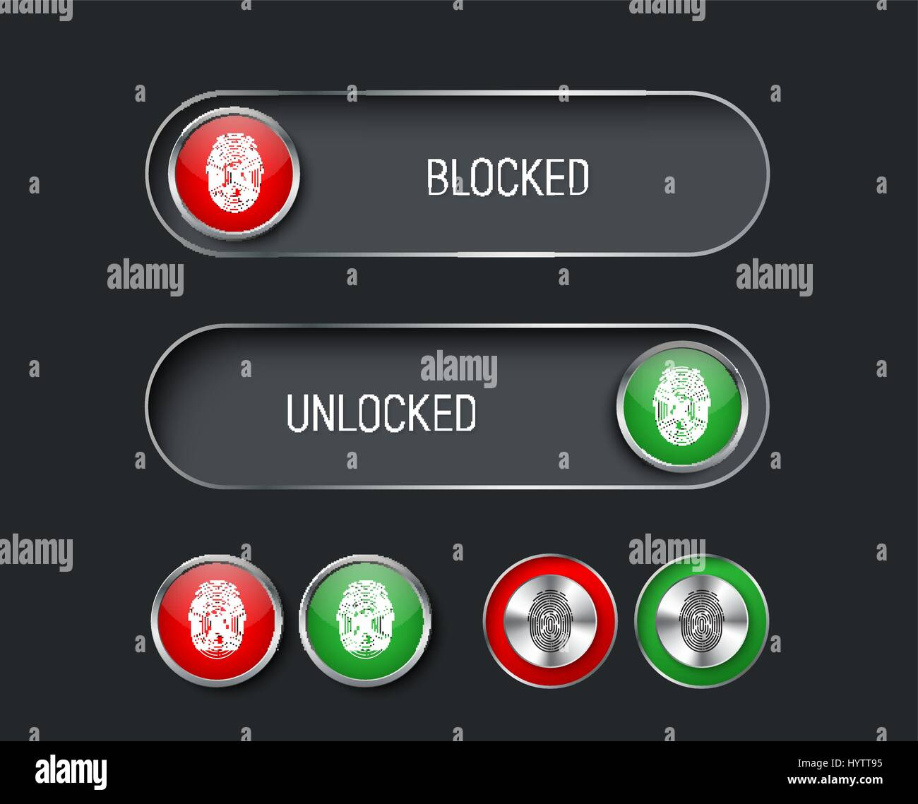 set of sliders, switches and buttons red and green. Templates for the black interface, site or application with - Stock Vector