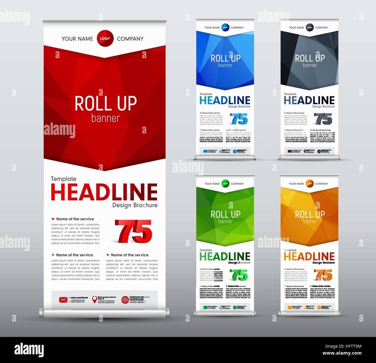 Template of vertical roll up banner of standard size design template of vertical roll up banner of standard size design business brochure flyer with abstract polygonal red elements in the form of an arrow wi wajeb Images