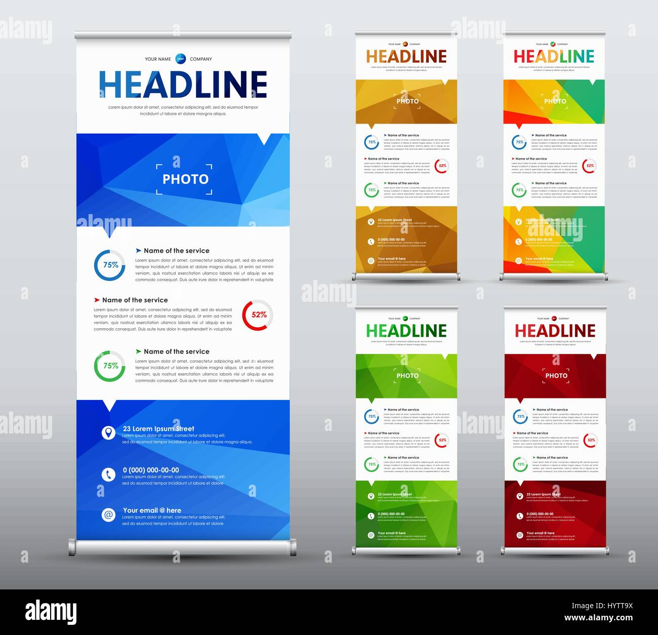 Vertical roll up banner design a business brochure template with a business brochure template with abstract polygonal blue elements a set of flag flyers of gold green and red color accmission Choice Image