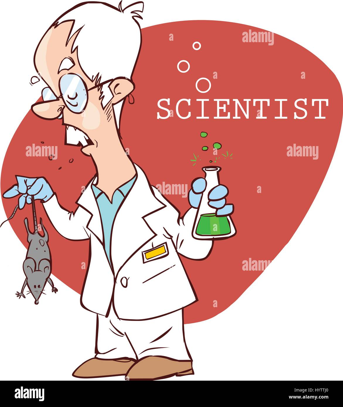 vector illustration of a  cute scientist illustration - Stock Vector