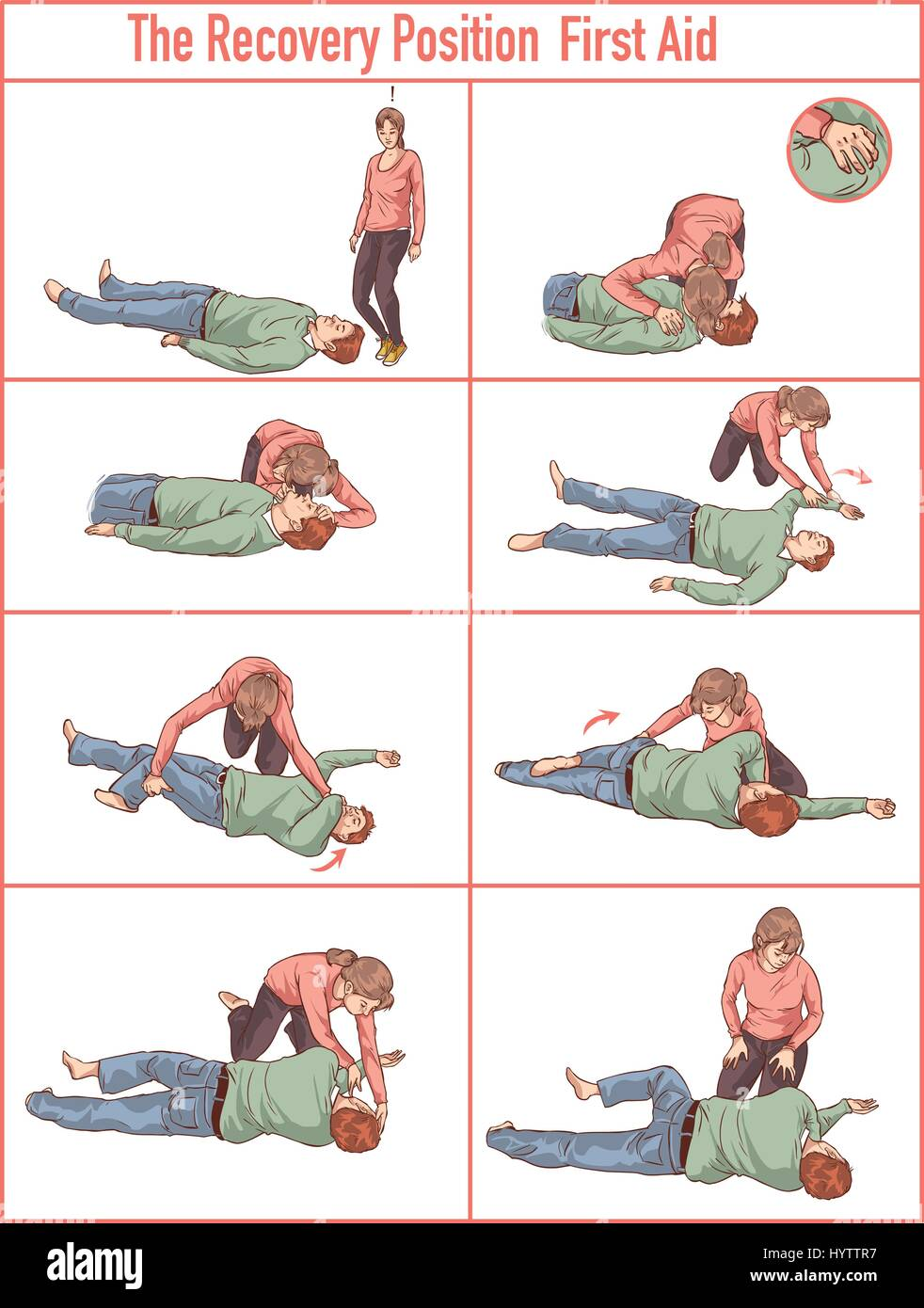 vector illlustration of a Recovery position (first aid) - Stock Image