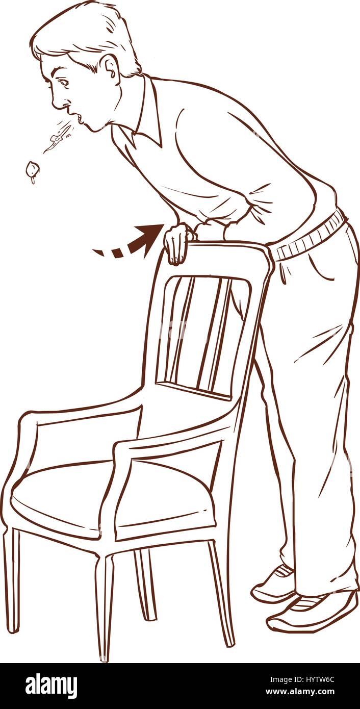 vector illustration of a Heimlich maneuver on oneself - Stock Vector