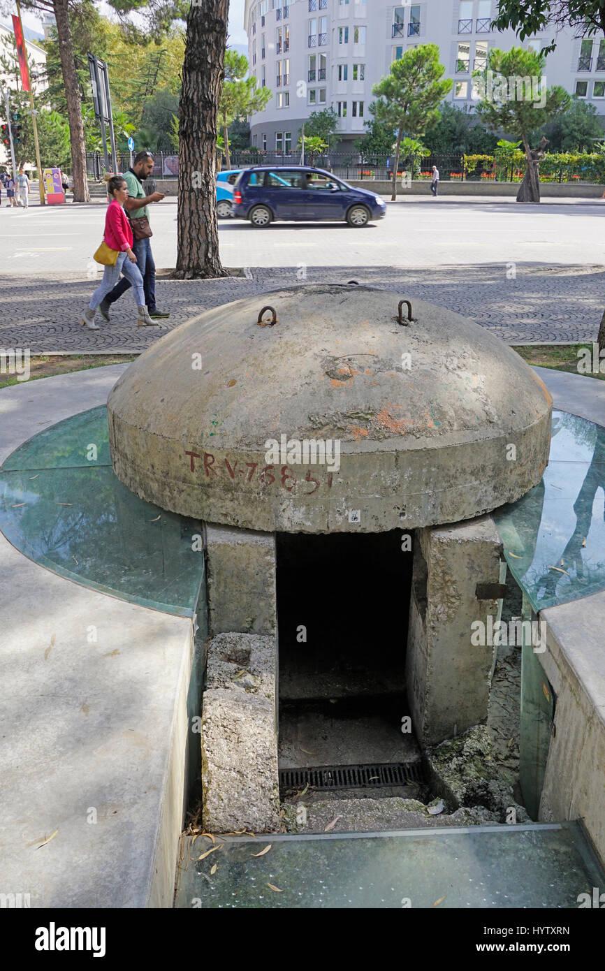 Defensive bunker in Duress, Albania. - Stock Image