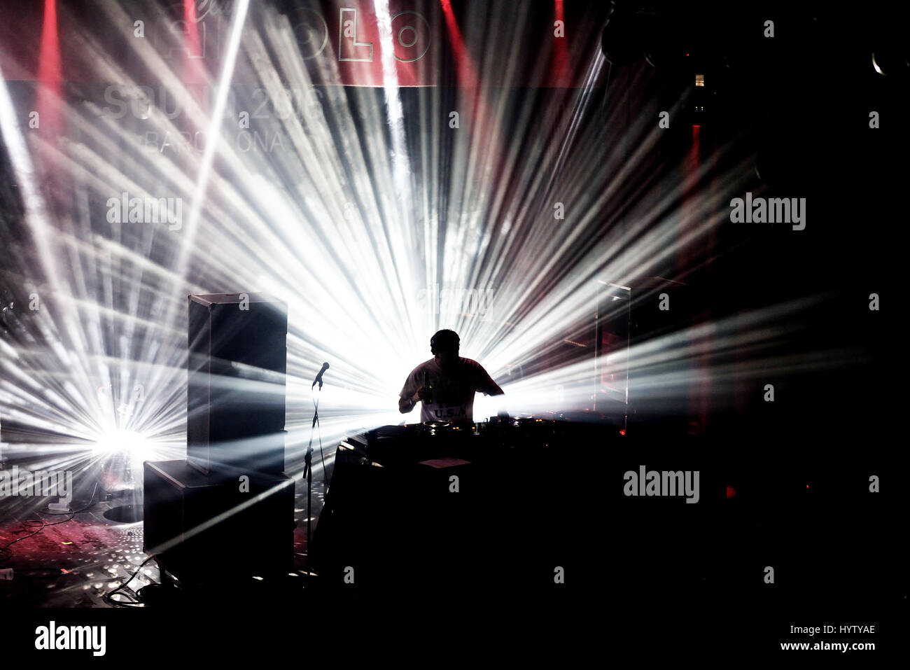 BARCELONA - JUN 5: The Avalanches (band) perform a DJ set concert at Primavera Sound 2016 Festival on June 5, 2016 - Stock Image