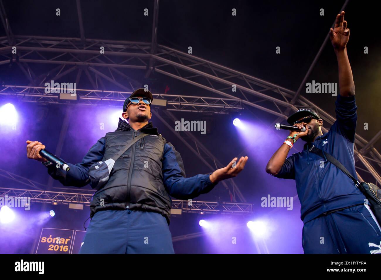 BARCELONA - JUN 18: Section Boyz (rap band) perform in concert at Sonar Festival on June 18, 2016 in Barcelona, Stock Photo