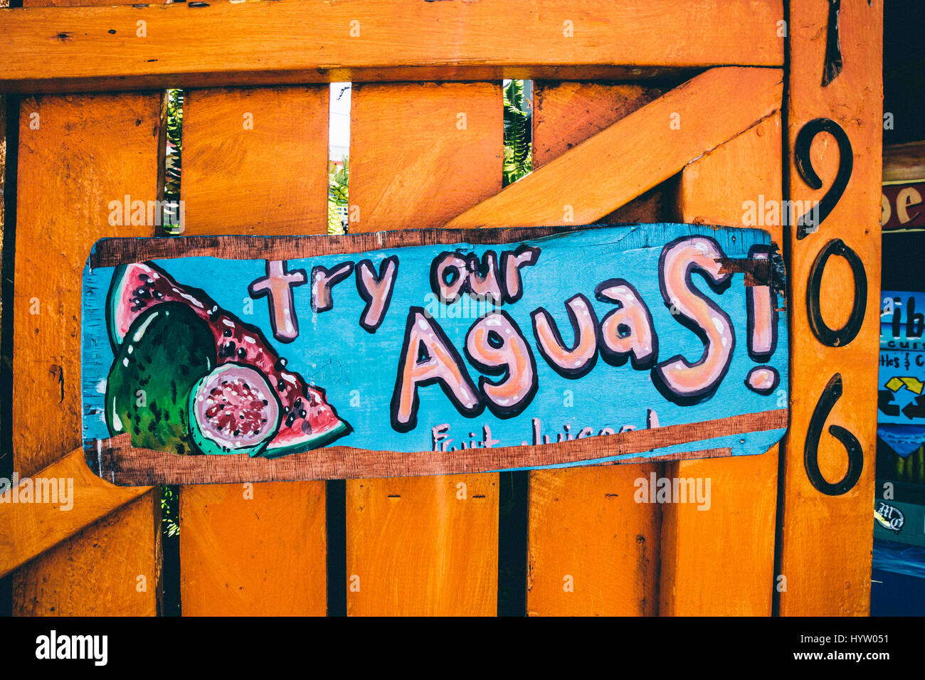 Try Our Aguas! Sign in Los Angeles, CA, USA - Stock Image