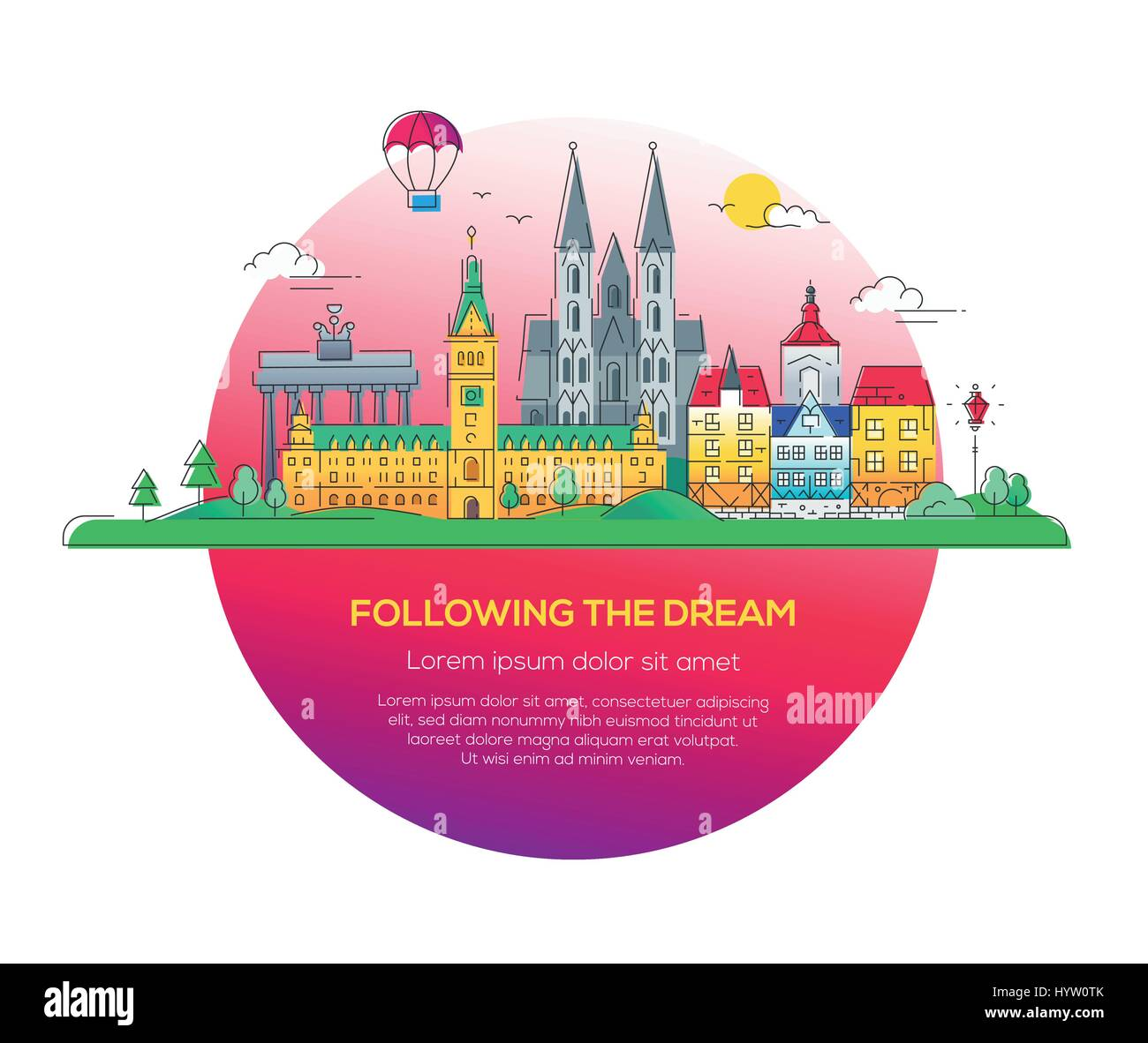 Following the dream - vector line travel illustration - Stock Image