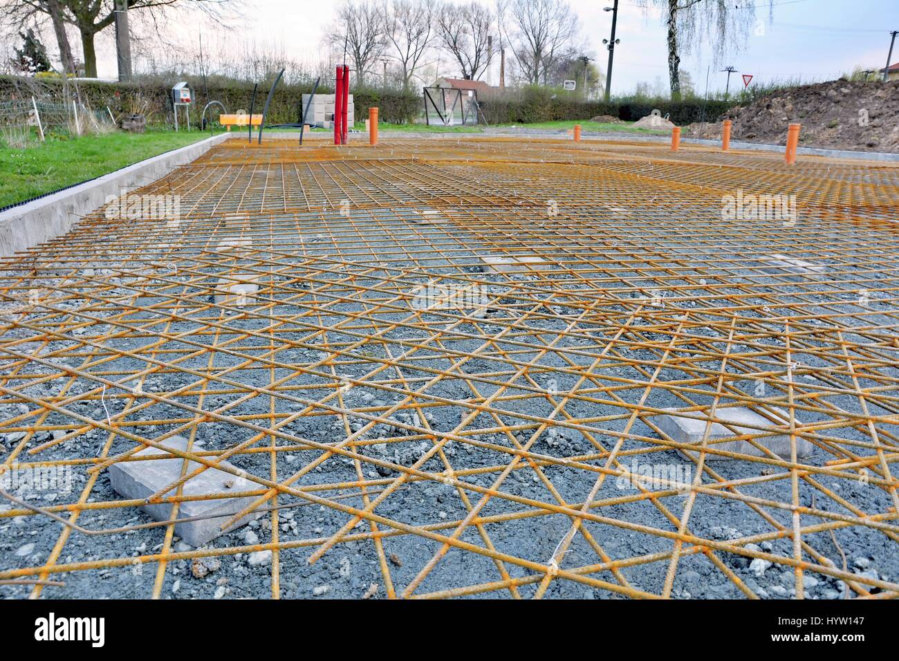 Newly Built House Foundations With Reinforcing Wire Mesh Ready For Concrete  Base Plate.
