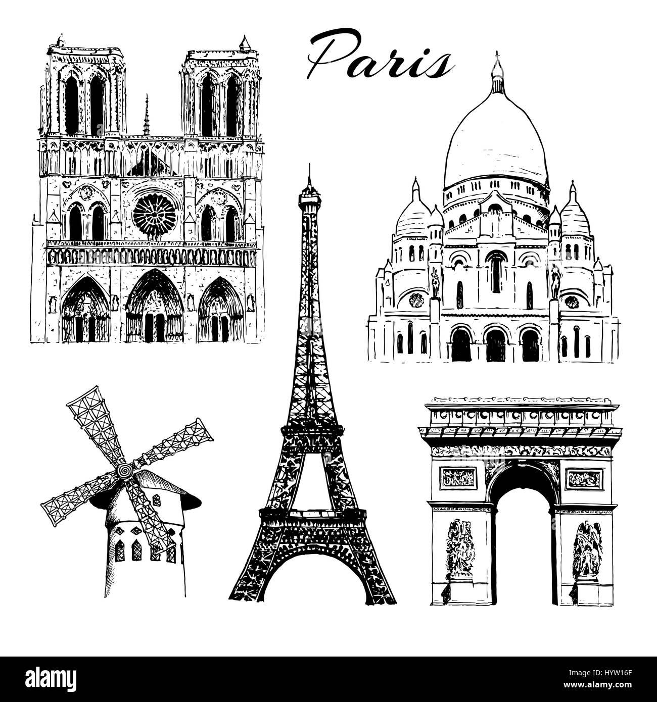 Set of Paris symbols. Eiffel tower, Notre Dame, Arc de Triomphe, Basilica of Sacre Coeur, Moulin Rouge. Vector hand - Stock Image