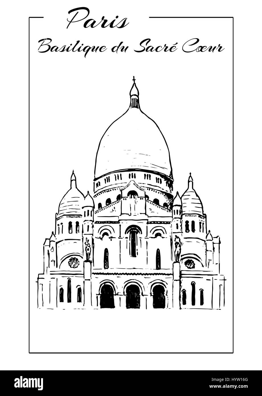 Basilica of Sacre Coeur, Montmartre. Paris symbol. The Basilica of the Sacred Heart. Hand drawing sketch vector - Stock Vector