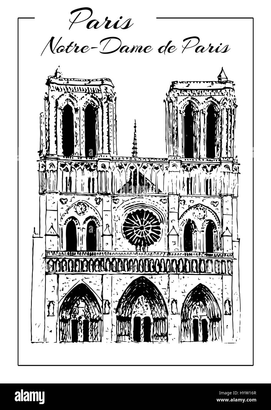 Notre Dame de Paris Cathedral, Paris symbol. French sightseeing.. Hand drawing sketch vector illustration. Touristic - Stock Vector