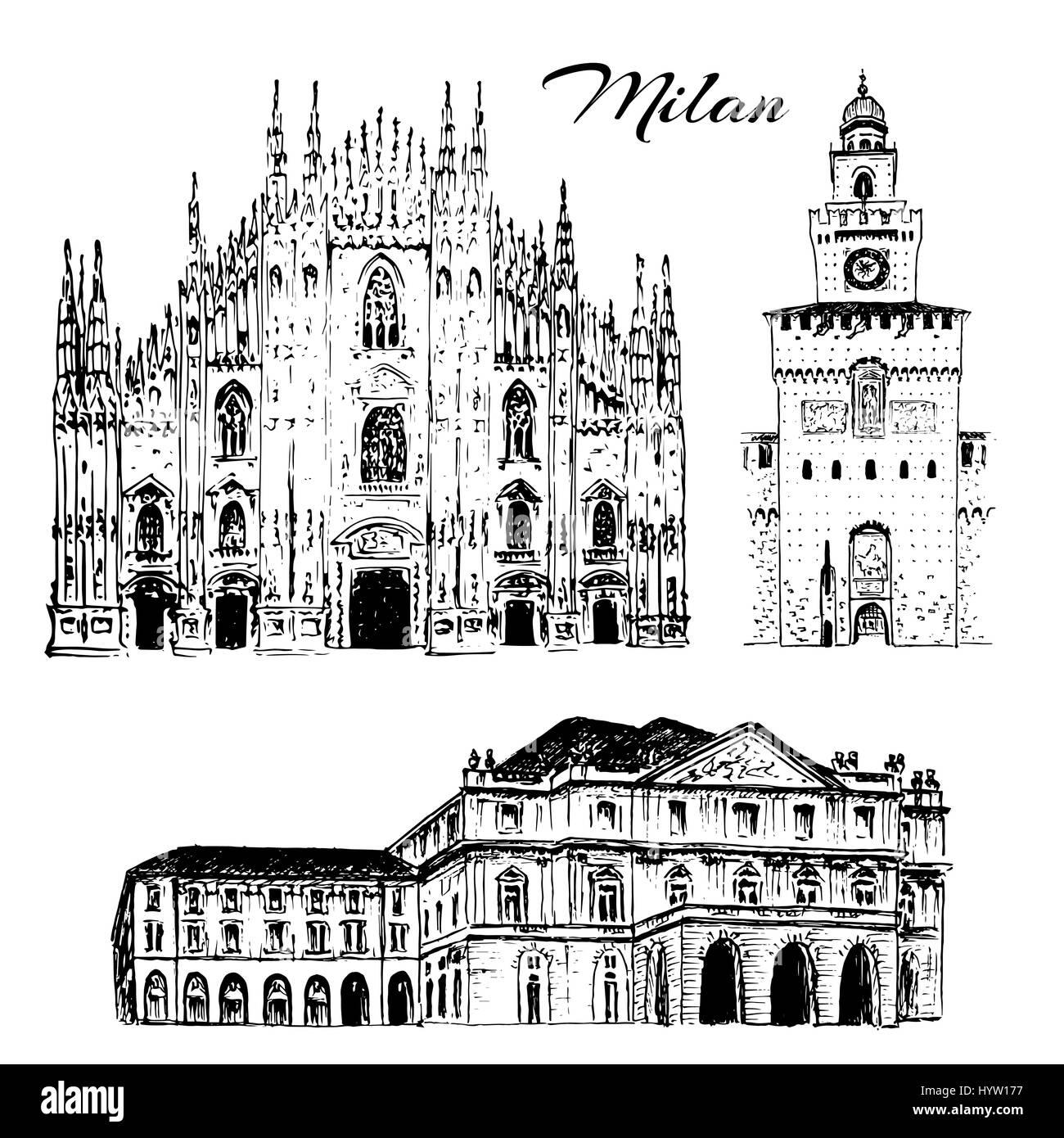 Set of Milan symbols. Duomo di Milano, Teatro alla Scala, Sforza Castle or Castello Sforzesco. Vector hand drawn - Stock Image