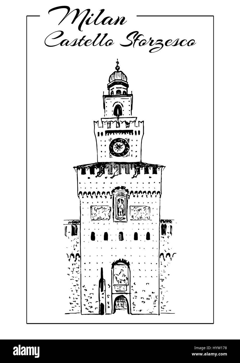 Milan symbols. Teatro alla Scala, Sforza Castle or Castello Sforzesco. Italy sightseeing. Medieval castle in Milan. - Stock Image