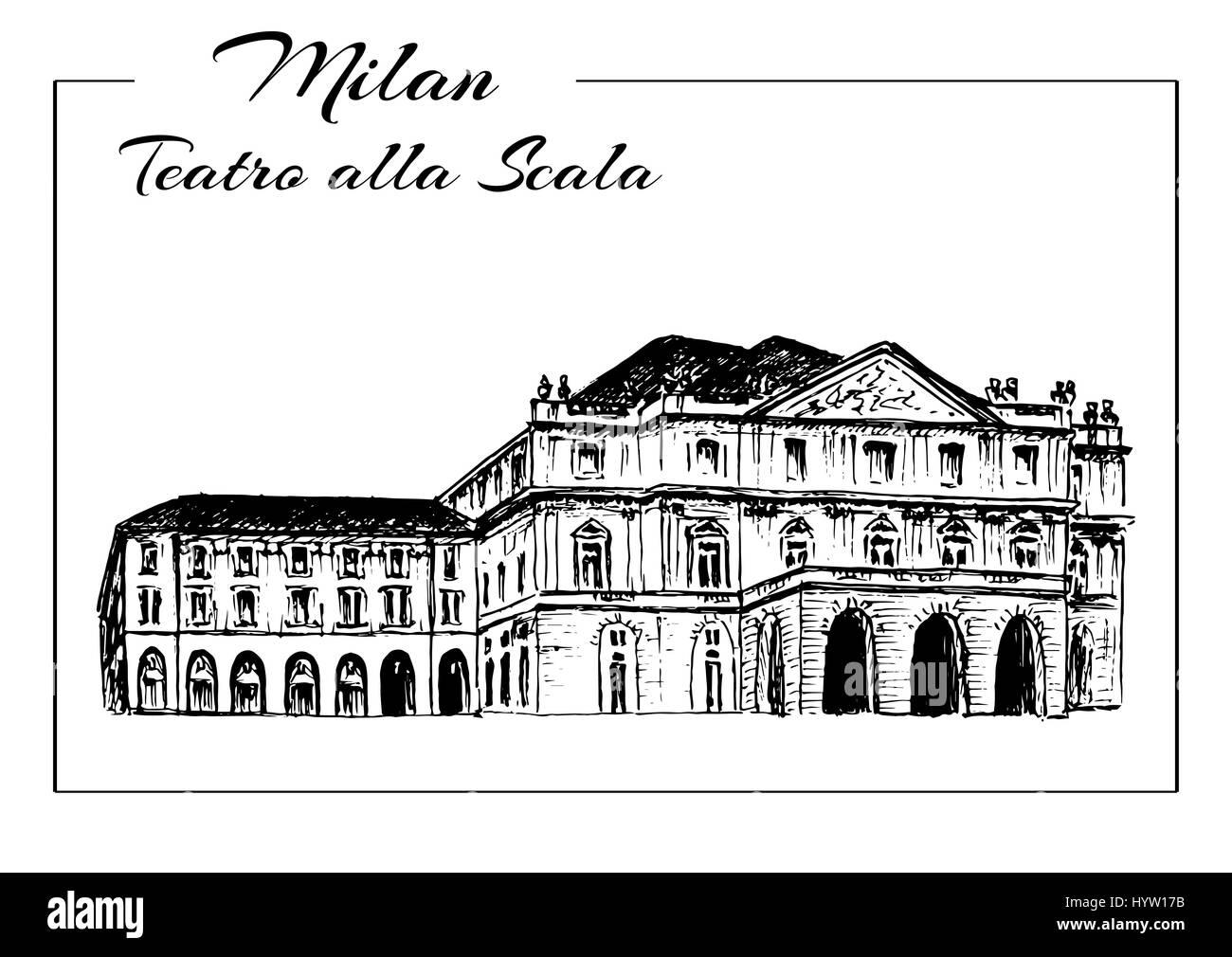 Teatro alla Scala. Milan Opera House, Italy. Musical theater. Vector hand drawn sketch illustration. - Stock Image