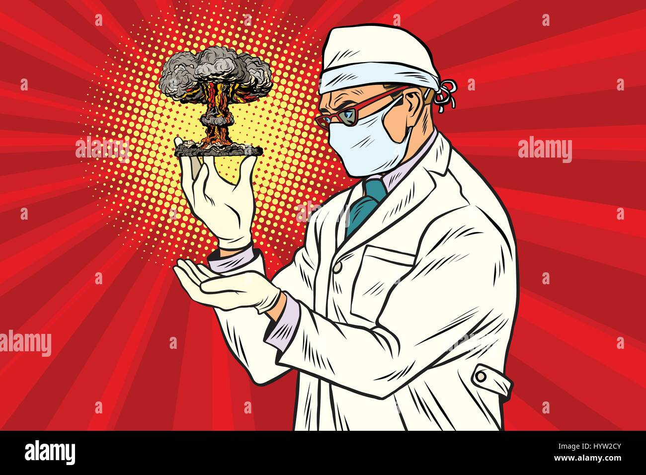 nuclear scientist and atomic bomb - Stock Vector