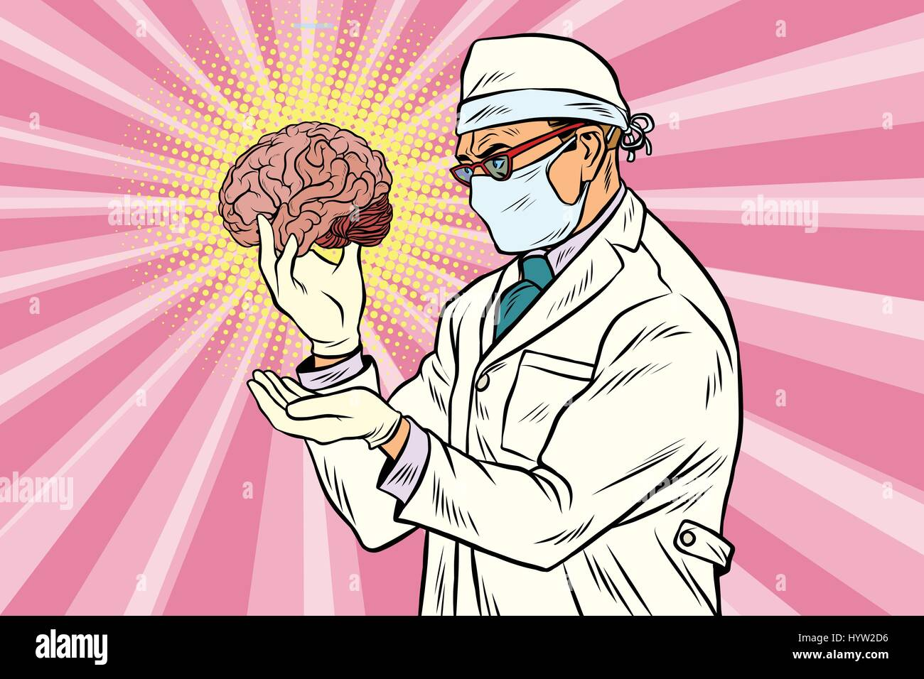 Surgeon doctor and the human brain Stock Vector