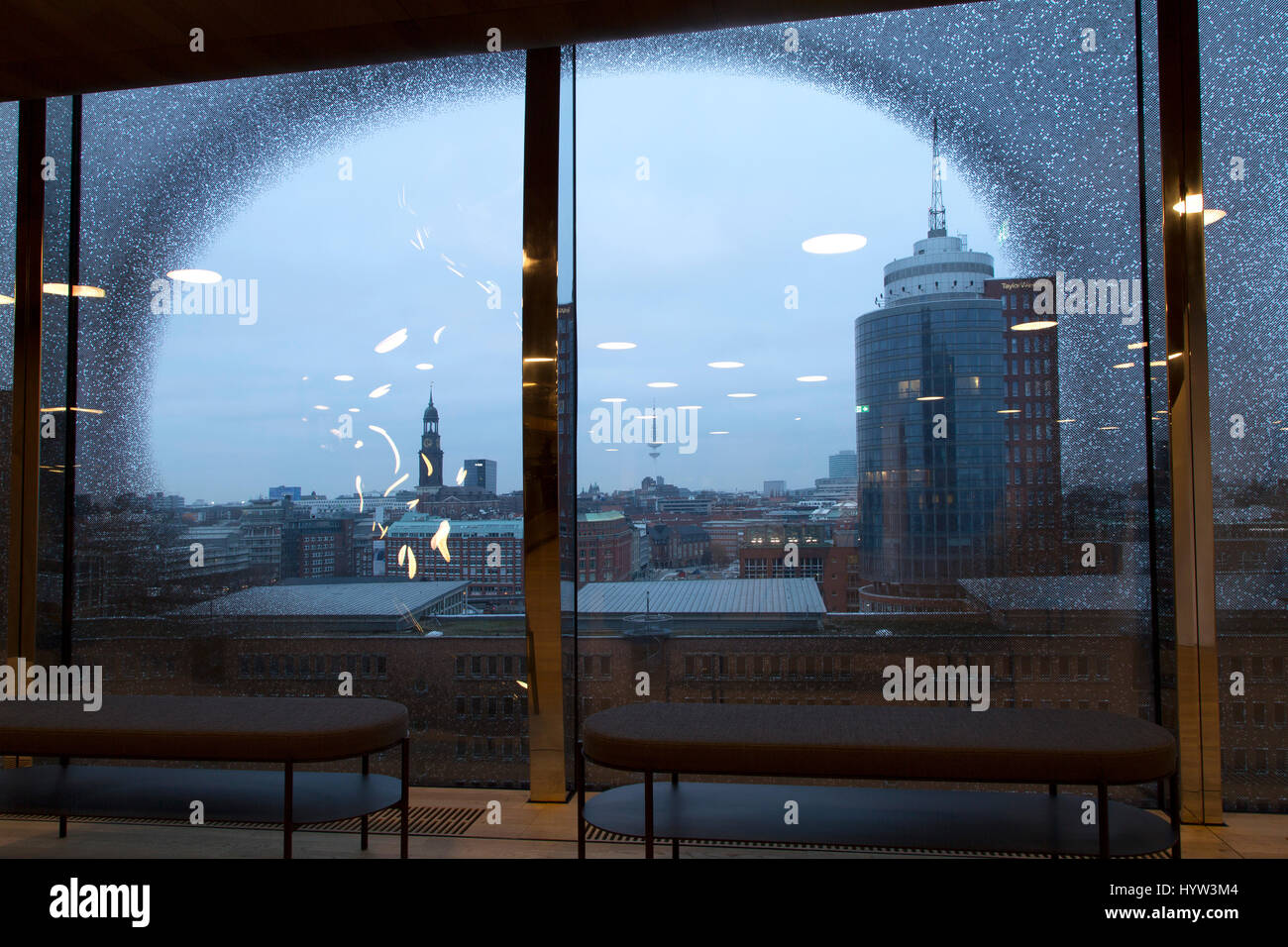 One of the windows within the Elbphilharmonie in Hamburg, Germany. The multi-purpose building in the HafenCity district - Stock Image