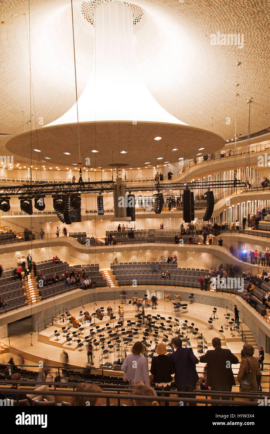 The concert hall within the Elbphilharmonie in Hamburg, Germany. The hall is highly regarded for the quality of Stock Photo