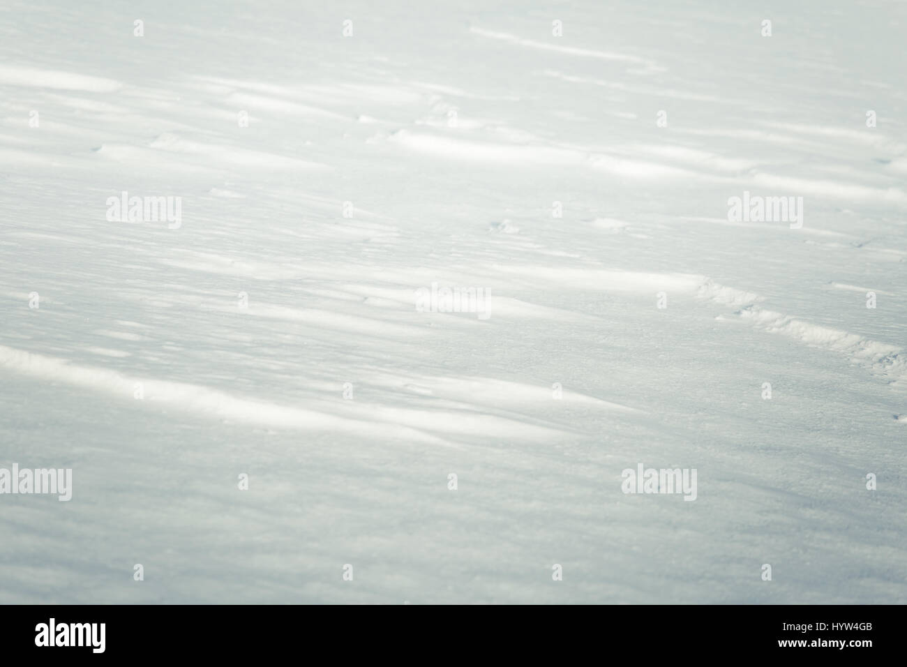 A beautiful closeup pattern of snow in a Norwegian winter day - Stock Image