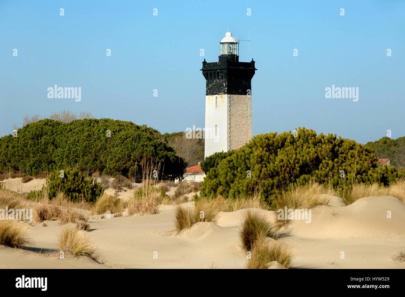 Espiguette Beach or Plage d'Espiguette and Lighthouse at Le Grau-du-Roi Camargue Gard France - Stock Image