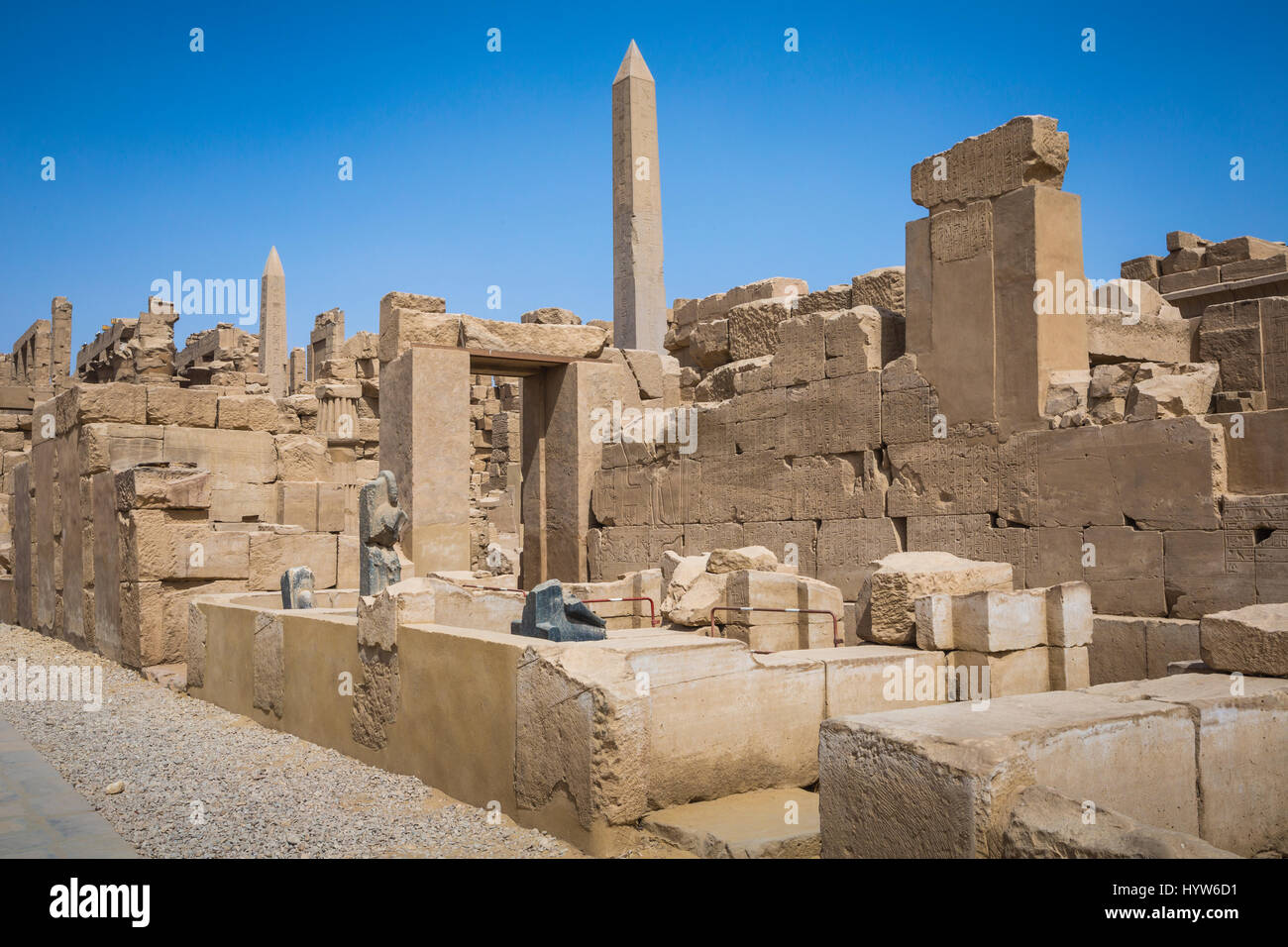 Ancient ruins of Karnak temple in Luxor. Egypt - Stock Image