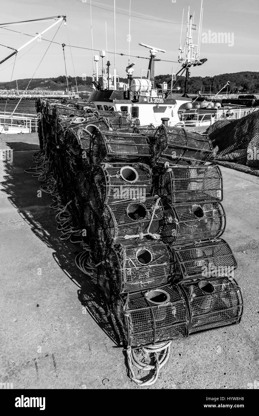 Fishing Traps Stored On Docklands - Stock Image