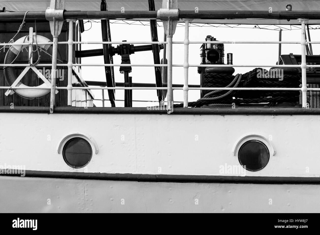 Full Frame Shot Of Sailing Ship Side View - Stock Image