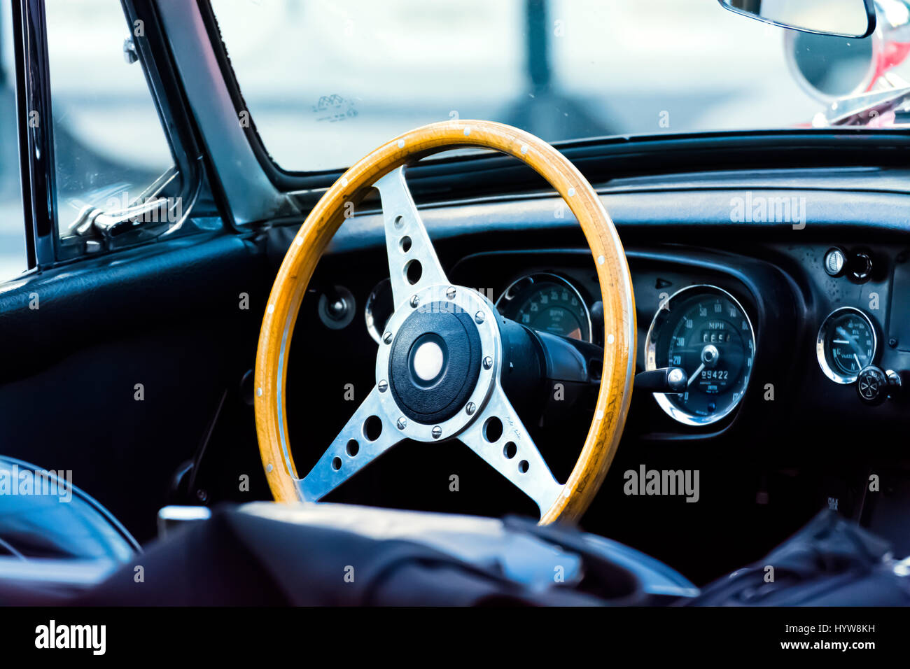 Steering Wheel And Dashboard Of Antique Car Stock Photo