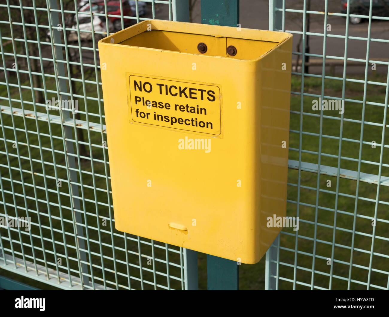 Bin marked No Tickets please retain for inspection, Tyneside Metro, England, UK - Stock Image
