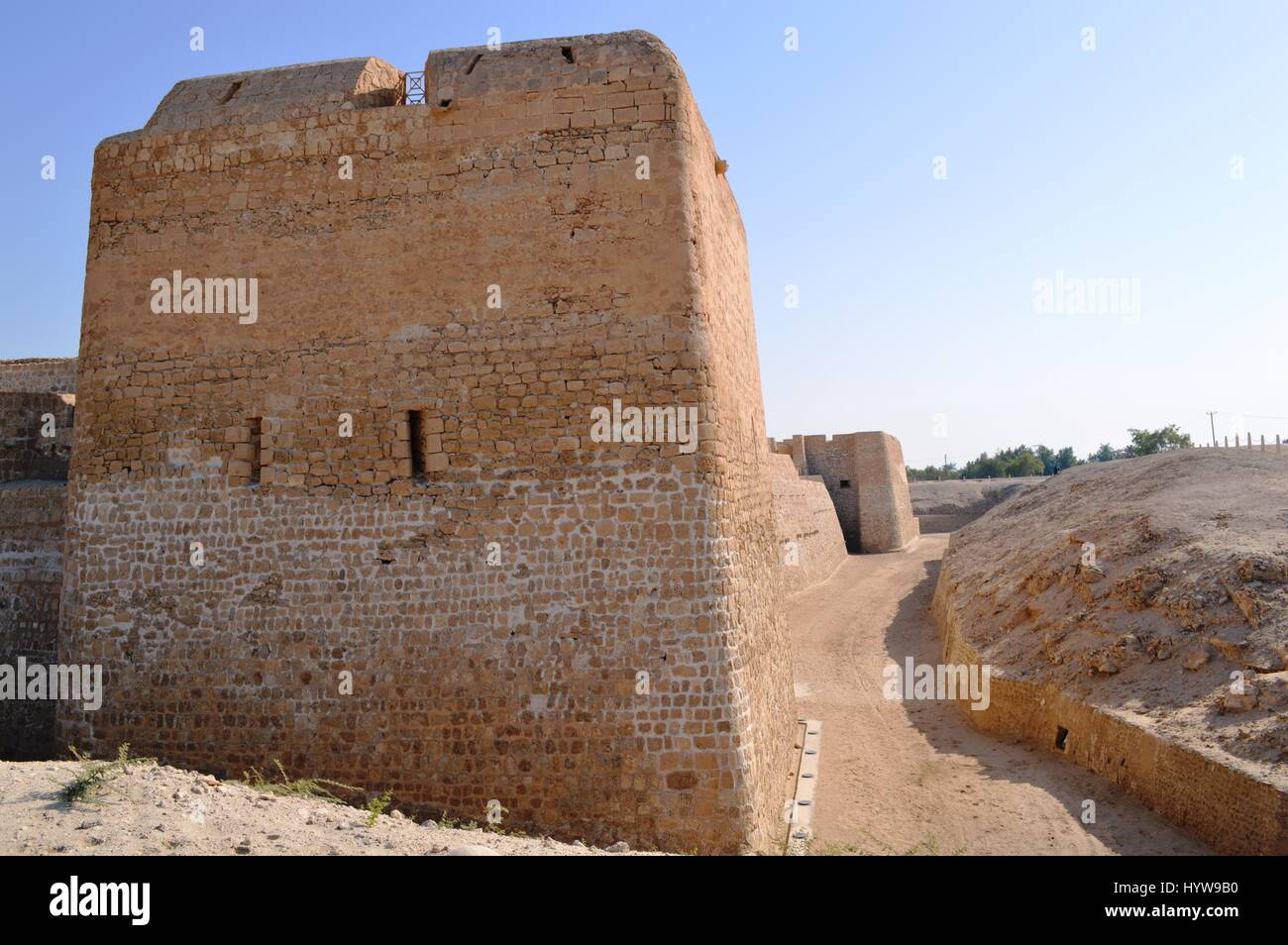 Exterior structure photos of the Bahrain Fort (Qalat al-Bahrain) at Al Qalah, Bahrain, in the Middle East. - Stock Image