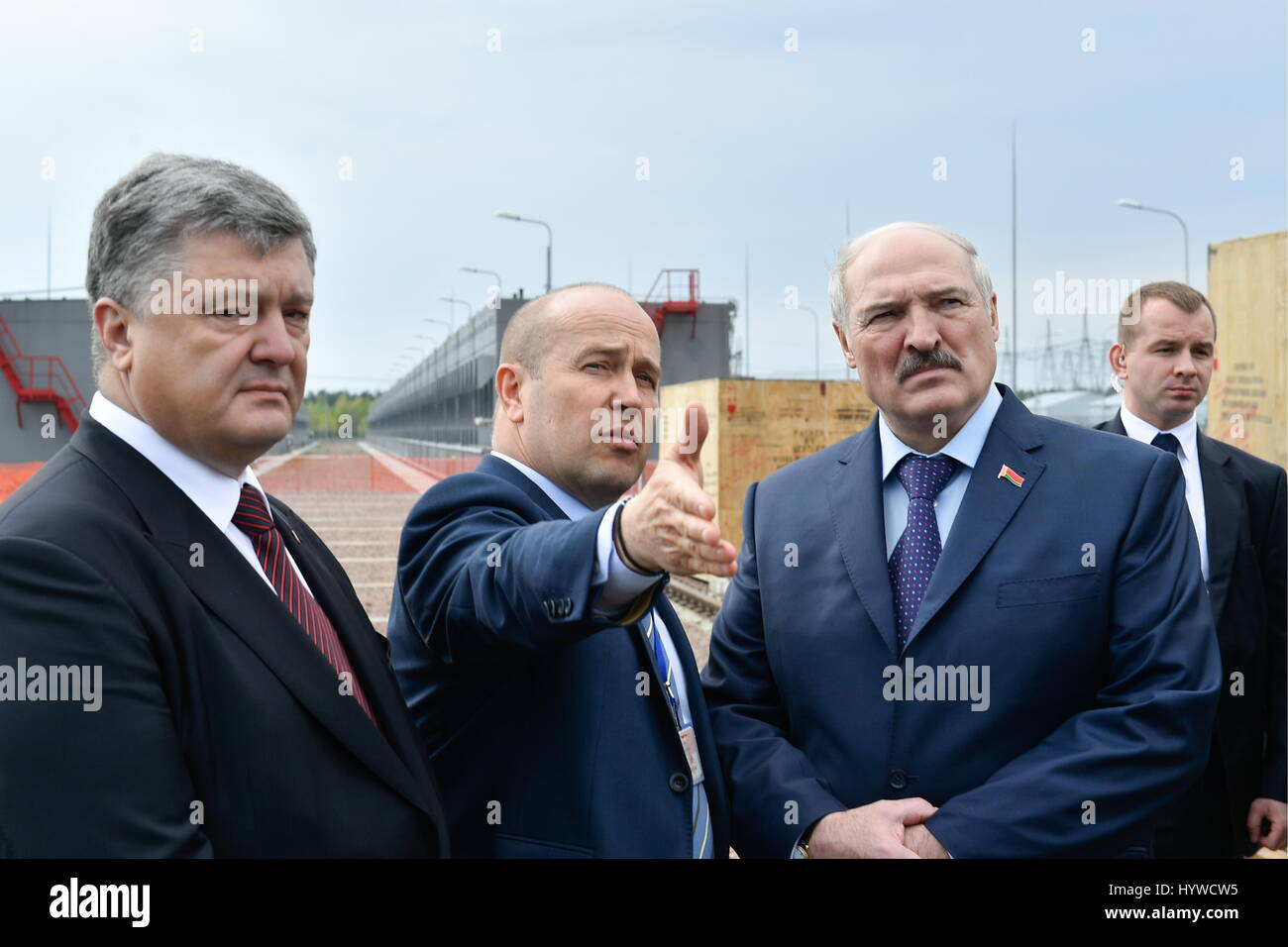 Kiev region ukraine 26th apr 2017 the president of ukraine the president of ukraine petro poroshenko the general director of the chernobyl nuclear power plant sse chernobyl npp igor gramotkin and the president freerunsca Images