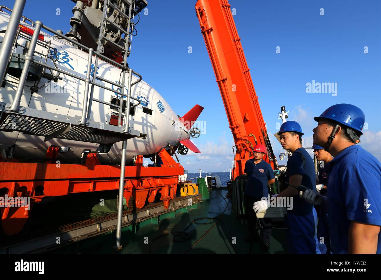 South China Sea. 26th April, 2017. China's manned submersible Jiaolong prepares its first dive this year in the Stock Photo