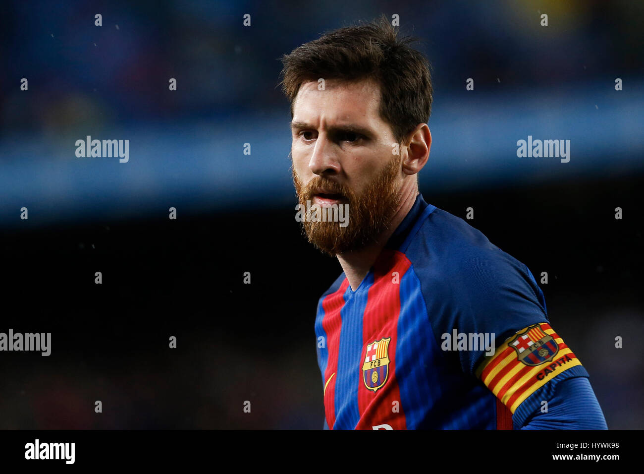Barcelona, Spain. 26th Apr, 2017. Barcelona's Lionel Messi reacts during the Spanish first division soccer match - Stock Image