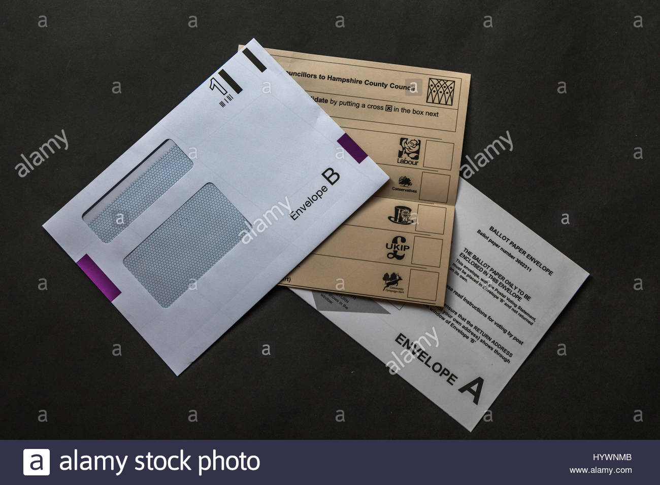 Postal voting Ballot Papers for the County Council elections on May 4th 2017 - Stock Image